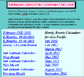 Earthtremors Calendars - Asia Pacific